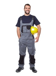 Portrait of smiling worker in gray uniform isolated on white background