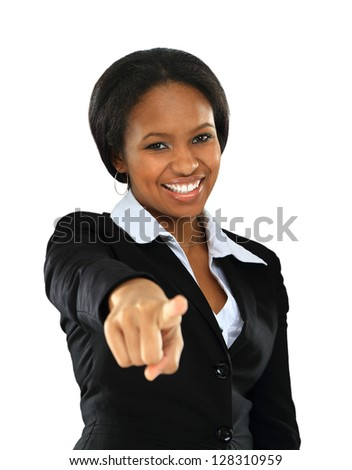 Portrait of smiling young afro american woman pointing on you on white background - stock photo