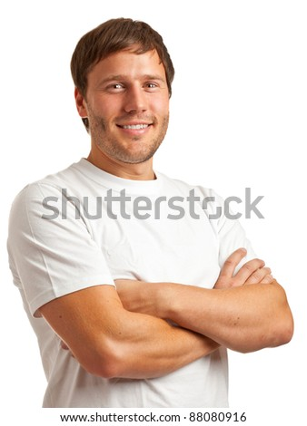 Portrait of smiling young man in a white t-shirt isolated on white background