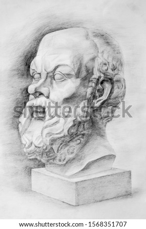 Portrait of Socrates. Pencil drawing. Academic drawing