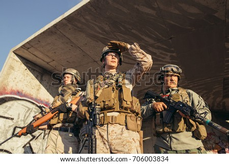 portrait of soldiers group with ...