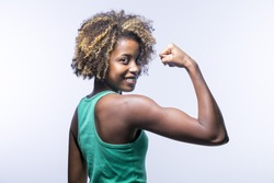 Portrait of sporty fit beautiful young black girl in sportswear