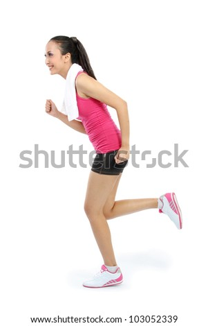Portrait of sporty healthy young woman running isolated on white background