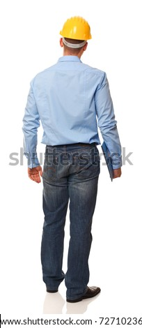 portrait of standing engineer back view isolated on white