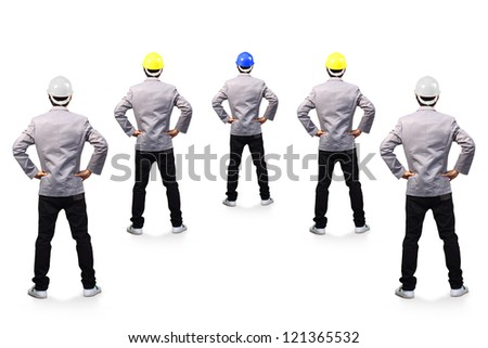 portrait of standing engineer back view isolated on white background, ( Clipping Paths for design work )