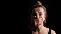 Portrait of stressed unhappy crying woman victim in fear suffering from female domestic violence having life difficulties and social problems. Copy space