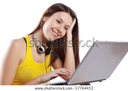 Portrait of student girl working with laptop