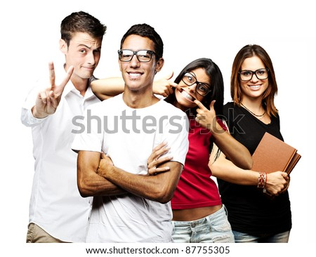 portrait of students group smiling and joking over white background - stock photo