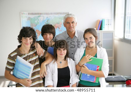 Portrait of students with teacher