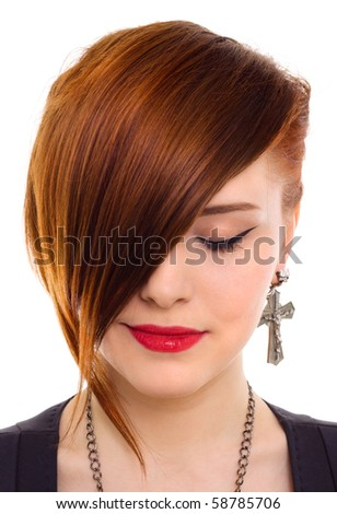 portrait of style beautiful red hair woman close up - stock photo