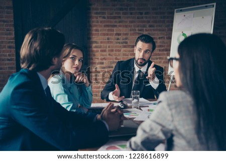 Portrait of stylish elegant classy serious minded chairman company founder director employer having committee discussing plans with employees at work place station