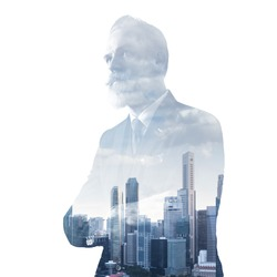 Portrait of stylish gentleman. Double exposure city on the background. Square, isolated