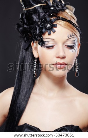 fantasy stage makeup. with fantasy hairstyle and