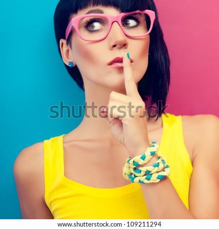 Portrait of stylish women the secret - stock photo