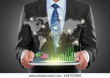 Portrait Of Success Businessman With Laptop Showing Social Business Connected