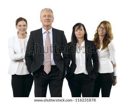 Portrait of successful business team smiling together. Isolated white background.