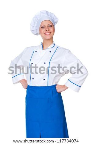 portrait of successful female cook over white background