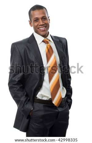 Portrait of successful professional in black suit looking at camera and smiling