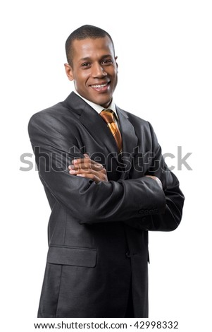 Portrait of successful professional wearing black suit and smiling