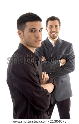 portrait of successful young executives on an isolated white background
