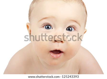 portrait of suprised baby isolated on white background
