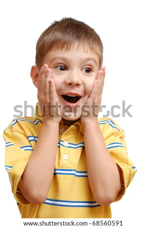 Portrait of surprised child isolated on white background