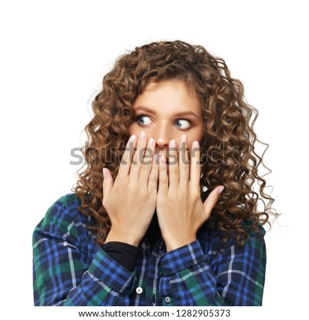 Portrait of surprised girl /shocked girl #1282905373
