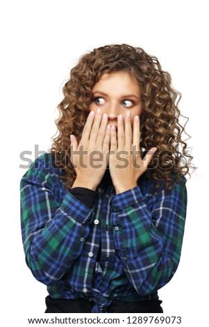 Portrait of surprised girl /shocked girl #1289769073