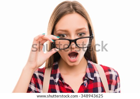 Portrait of surprised girl with opened mouth Foto stock ©
