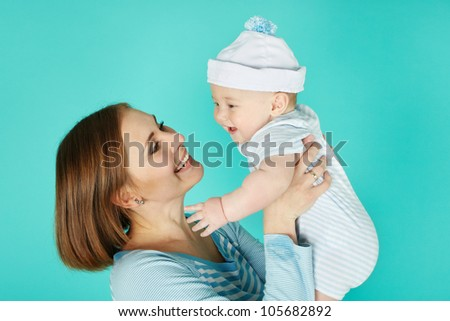 Portrait of sweet baby and his mother
