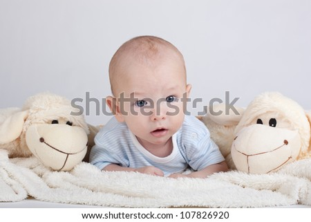 Portrait of sweet little baby boy with a sheeps