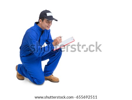 Portrait of Technician service man wear blue cloth and cap with clipboard on hand ,service business ,maintenance and people concept isolated on white background.
