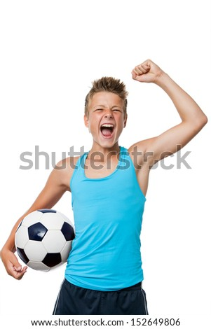 Portrait of teen soccer player with winning attitude.Isolated on white.
