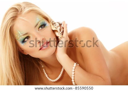 portrait of teenager girl mermaid beautiful calling phone with shell isolated on white background
