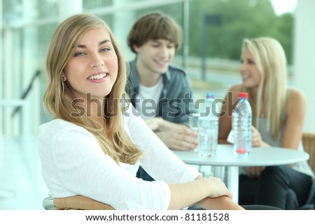 portrait of teenagers at table