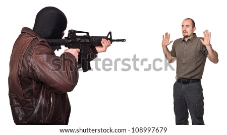 portrait of terrorist back view and young hostage