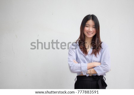 Portrait of thai china adult beautiful girl relax and smile #777883591