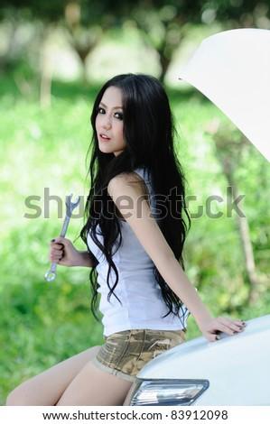portrait of Thai women in automotive Girl