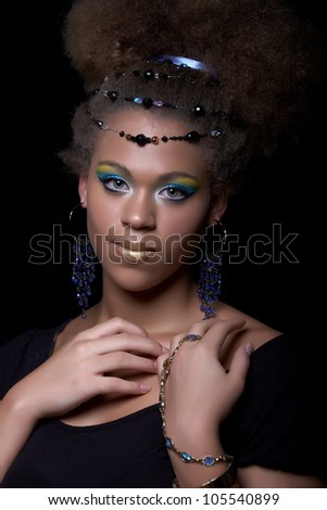 Portrait of the african model with with colorful make-up