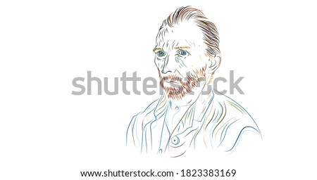 Portrait of the artist Van Gogh. Creative modern illustration. Impressionist great redhead painter. Vincent van Gogh sketch portrait. Brush line illustration