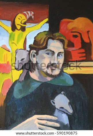 Portrait of the artist with an ermine. Man with an Ermine in the arms and on shoulder. Painting, canvas, color.