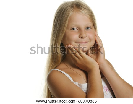 Portrait of the attractive girl of the blonde close up. It is isolated on a white background