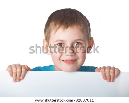 Portrait of the beautiful boy on the white background