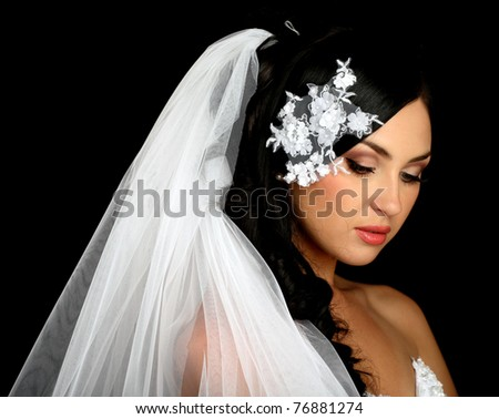 Portrait of the beautiful bride on a dark background