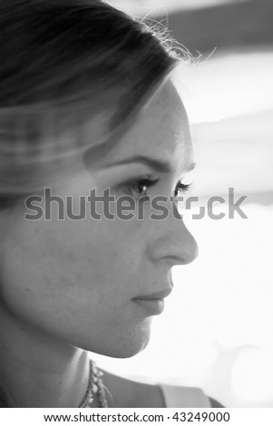 Portrait of the beautiful serenity girl on abstract background. Shallow DOF
