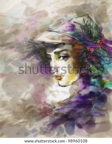 Portrait of the beautiful young girl in a hat in modern style. Drawing is executed in equipment a water color