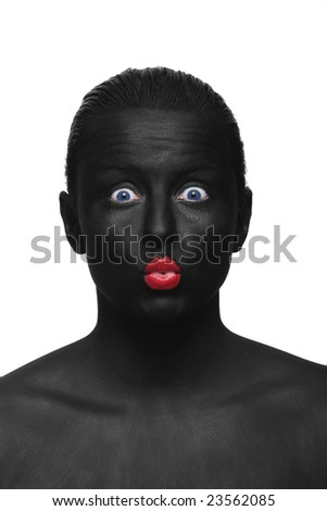 portrait of the black face with red lips