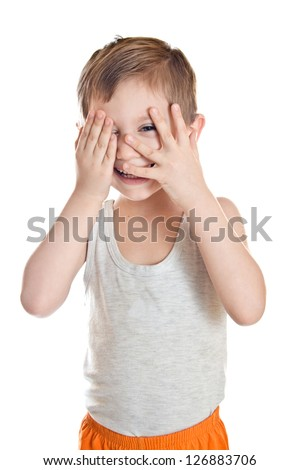 Portrait of the boy covers his face isolated on white background