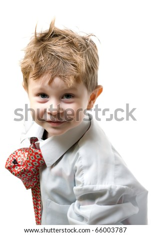 portrait of the boy on white background