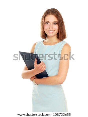 Portrait of the business woman with folder ,isolated on white background